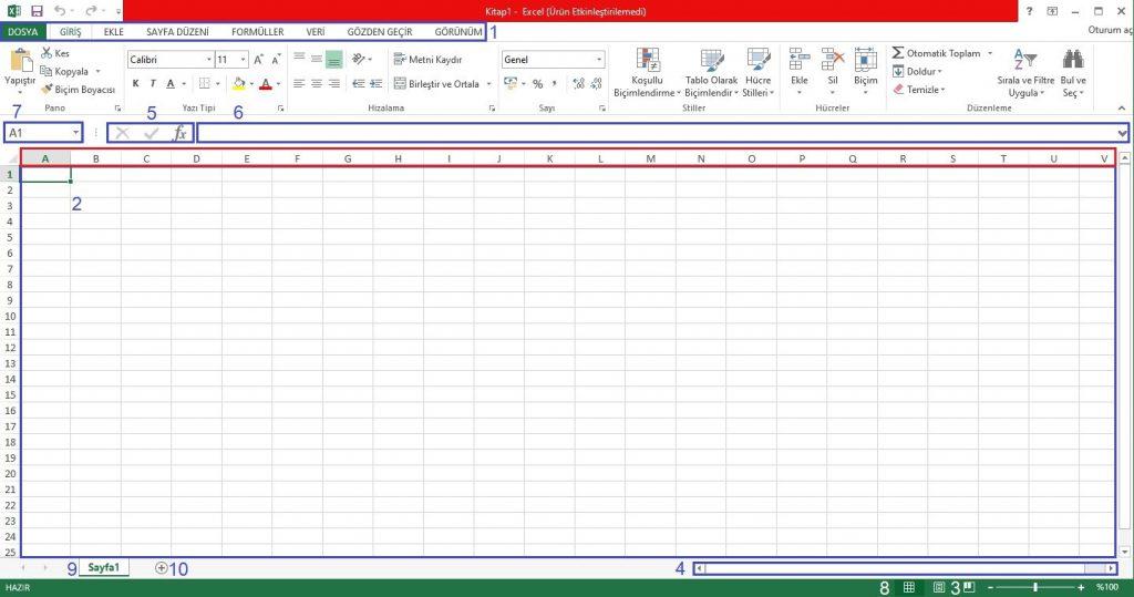 Excel Arayüzü ve Açıklamaları