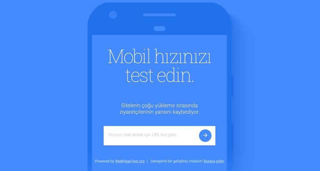 google mobil site hız testi