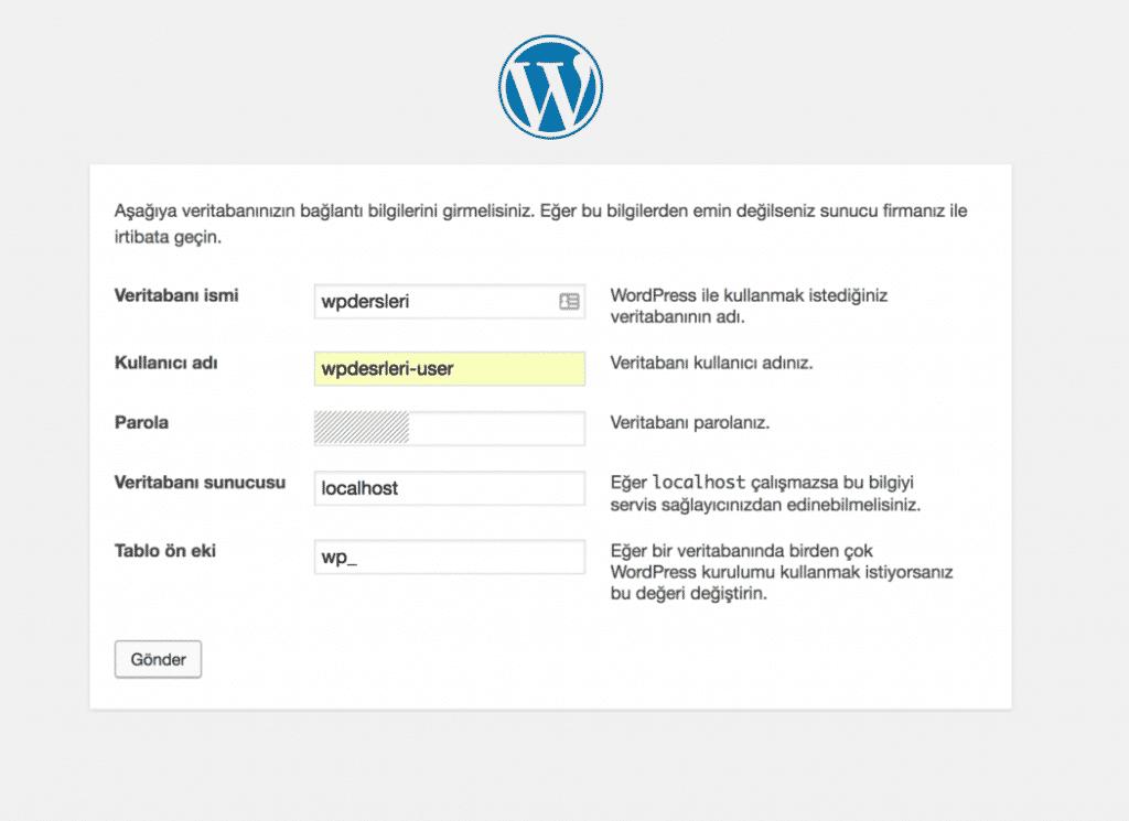 wordpress kurulumu veritabanı alanı