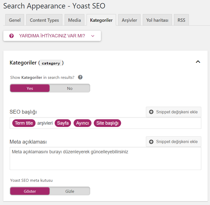 yoast seo kategori ayarları