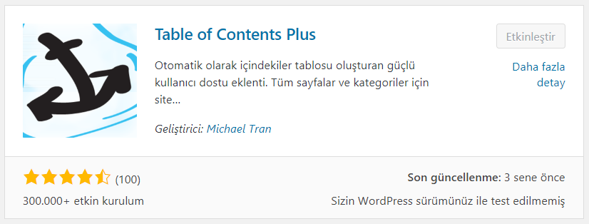 table of contents plus ayarları